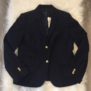 J.Crew Navy Schoolboy Wool Blazer in Chalk Stripe